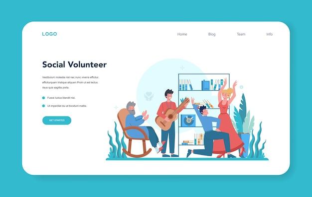 Websjabloon of bestemmingspagina voor sociaal vrijwilligers.