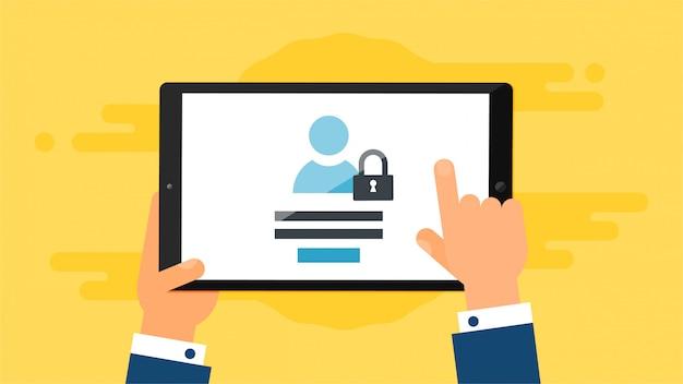 Websjabloon van aanmeldingsformulier voor tablets