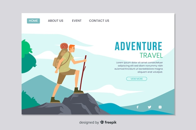 Websjabloon voor bestemmingspagina voor avontuur