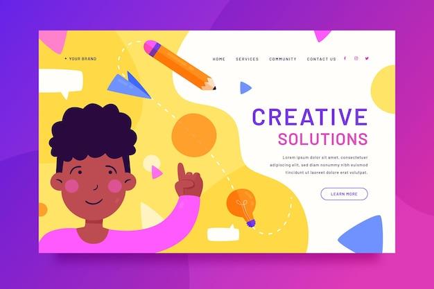Websjabloon voor creatieve oplossingen Gratis Vector