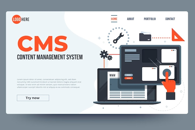 Websjabloon voor platte content management systeem