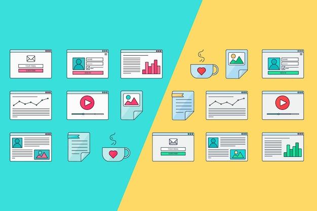 Websjabloon voor sitevormen van e-mailabonneren, inloggen op account, video bekijken, online winkelen, blog en infographics. vector