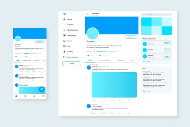 Websjabloon voor twitter-interface