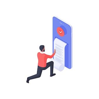 Webverklaring met document isometrische illustratie. het mannelijke personage bestudeert een blad met webrecords ontvangen van een smartphoneapplicatie. concept van juridische en financiële transactie-inkomstengegevens.