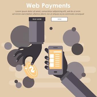 Webwinkel en online winkelconcept. wereldwijde communicatie, internetbankieren, handel, e-commerce, geld verdienen. vlak