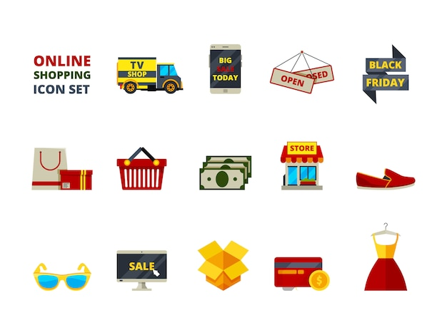 Webwinkel pictogram. online winkel betaling e commerce detailhandel mode producten grote verkoop smartphonekaarten en geld platte symbolen