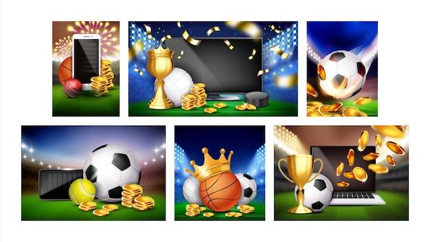 Wedden op sport promotionele posters set vector. tennis en voetbal, cricket en basketbal, hockey en volleybalweddenschappen sportieve spellen reclamebanners. stijl kleur concept sjabloon illustraties