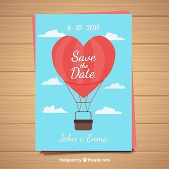 Wedding card met luchtballon