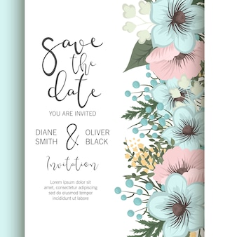 Wedding floral save the date card design met elegante blauwe bloemen