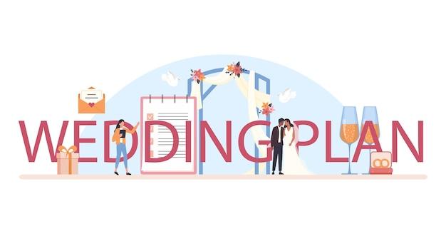 Wedding planner typografische koptekst. professionele organisator die een huwelijksevenement plant.