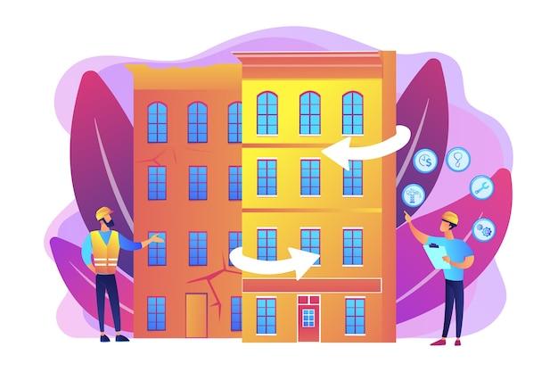 Wederopbouw van woonhuizen, stadsvernieuwing. modernisering van oude gebouwen, opbouw van service, concept van oplossingen voor modernisering van de bouw.