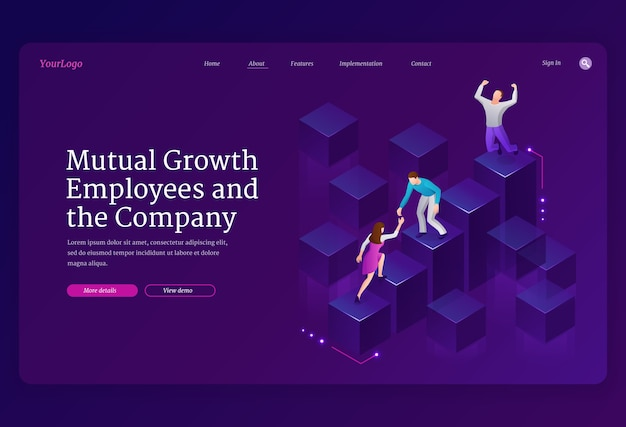 Wederzijdse groei en assistentie medewerkers en isometrische bestemmingspagina van het bedrijf