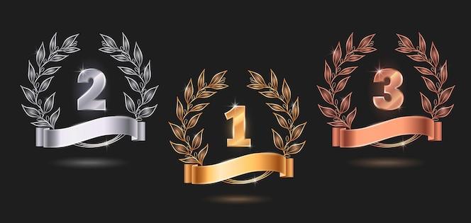 Wedstrijd awards emblemen set