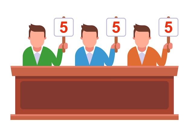 Wedstrijd waarbij de jury de borden opheft en punten geeft. vlakke afbeelding