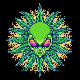 Weed alien cannabis mandala met vuur vectorillustraties voor uw werk logo, mascotte merchandise t-shirt, stickers en labelontwerpen, poster, wenskaarten reclame bedrijf of merken.