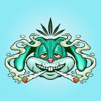 Weed bunny rabbit joint smoke kush illustraties