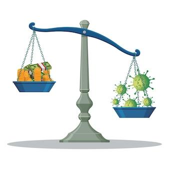 Weegschaal balansgewicht geld en covid-19 illustratie.