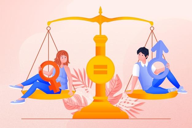 Weegschaal en gendergelijkheid concept
