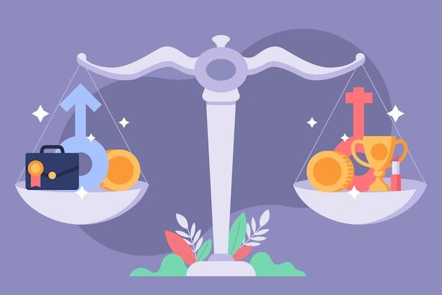 Weegschaal in evenwicht gendergelijkheid concept