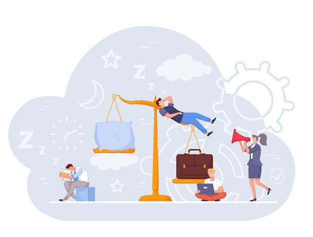 Weegschaal meet de harmonie tussen werk, carrière en slaap. vermoeide, uitgeputte werknemer, werknemer vergelijkt gelijkheid en maakt een keuze ten gunste van een baan dan rust en gezondheidszorg vectorbeelden