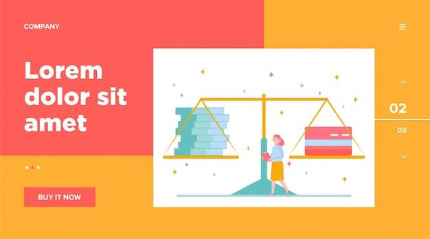 Weegschaal met contant geld en creditcard. persoon, vrouw, vergelijking, gewicht. persoonlijke financiën, bankwezen, voor- en nadelen concept voor website-ontwerp of bestemmingswebpagina