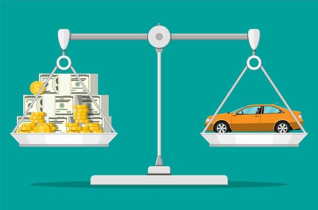 Weegschaal met geld en auto. dollarstapels en gouden munten, het concept van de voertuigaankoop.
