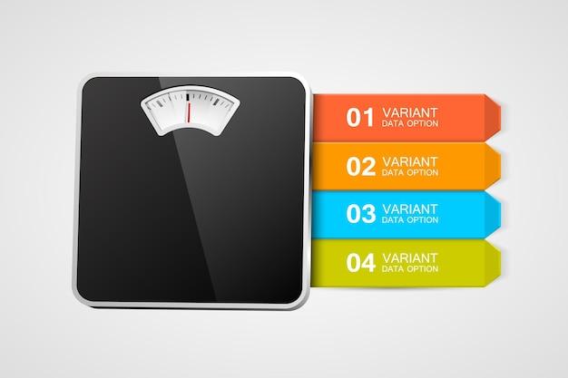 Weegschaal met infographics of stappen. stappen naar een gezond leven.