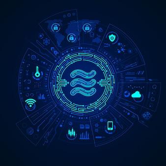 Weegschaal, nieuwe cryptocurrency met digitale financiële interface