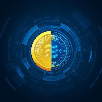 Weegschaal, nieuwe cryptocurrency-technologie futuristische achtergrond
