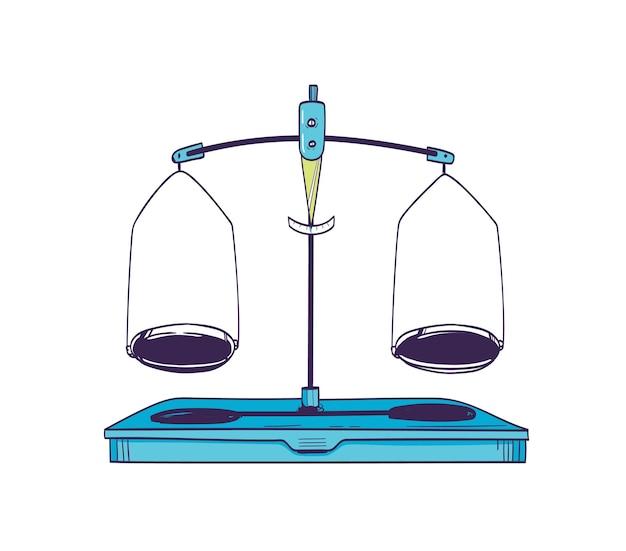 Weegschaal of massabalans met twee platen in evenwicht geïsoleerd op wit