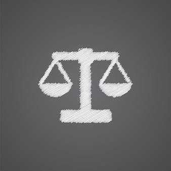 Weegschalen schets logo doodle pictogram geïsoleerd op donkere achtergrond
