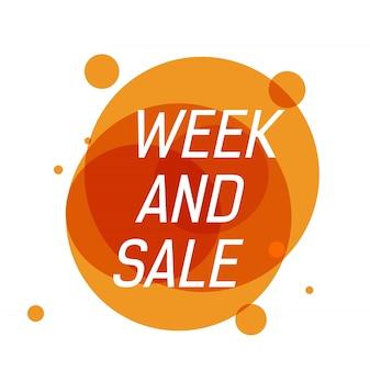 Week en verkoop letters op oranje transparante cirkels met stippen.