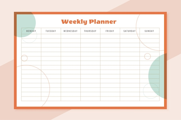 Week organisator planner sjabloonontwerp