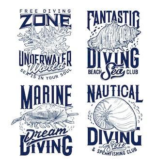 Weekdieren en zeeslakken zeeschelpen, koralen kolonie t-shirt afdruksjabloon