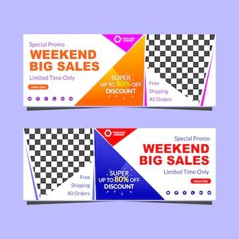Weekend banner sjabloon grote verkoopbevordering