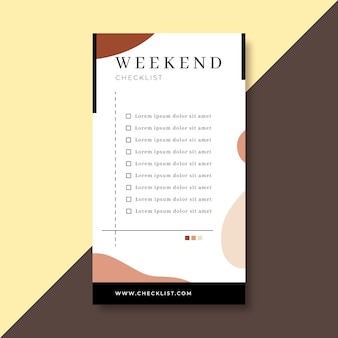 Weekend checklist instagram verhaalsjabloon