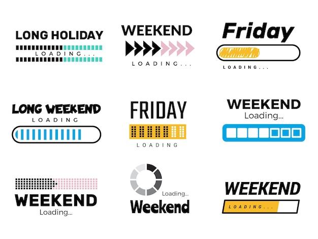 Weekend laadbalk. web ui-interface laden luie weekdagen zondag zaterdag gratis feest komt om succesprocessen vector te beëindigen. illustratie weekend binnenkort geladen, voortgangsbericht