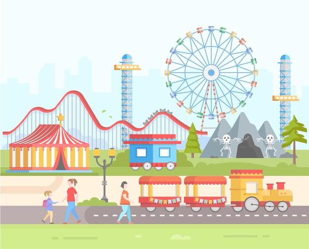 Weekend - moderne platte ontwerp stijl vectorillustratie op stedelijke achtergrond. pretpark met horrorattracties, circus, groot wiel, trein, achtbaan, lantaarn, mensen. entertainmentconcept