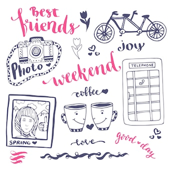 Weekend schets kunst romantische set hand getrokken elementen met telefooncel, foto en fiets. voor wenskaart vectorillustratie.