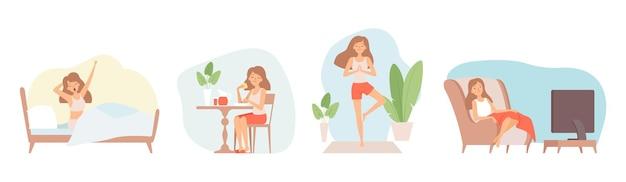 Weekendje relaxen. blijf thuis, isolatieperiode. alleenstaande vrouw eten, tv kijken doen yoga vectorillustratie. relax lifestyle, zitontspanningsweekend