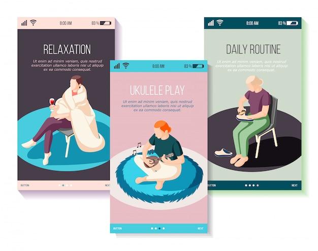 Weekends thuis set isometrische mobiele schermen mensen tijdens klusjes spelen op ukelele ontspanning