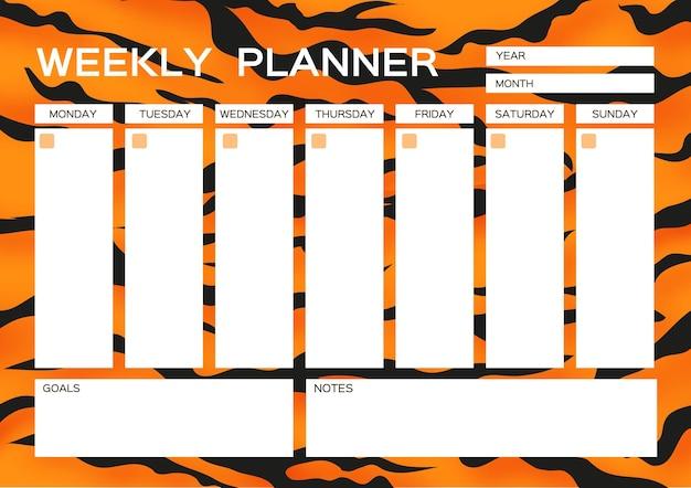 Weekplanner. leuke pagina voor notities. notitieboekjes, stickers, agenda, schoolaccessoires. tijger bont. wild dier stijl. grote kat. ruimte voor tekst. wit oranje zwart. vector.