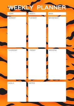Weekplanner leuke pagina voor notities notitieboekjesdecals dagboek schoolaccessoires tijgerbont