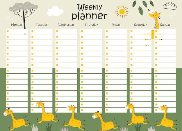 Weekplanner met giraffen