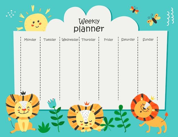 Weekplanner met grappige leeuwen