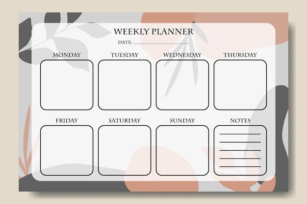 Weekplanner met grijs oranje pastel abstracte achtergrond sjabloon afdrukbaar