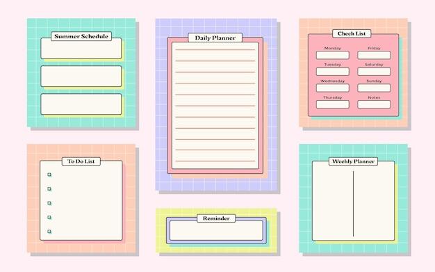 Weekplanner met schattig retro zomerthema voor dagboeksticker en plakboek