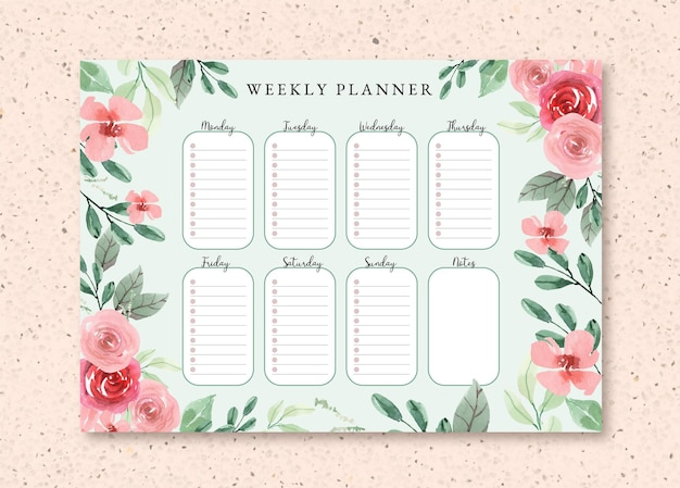 Weekplanner sjabloon met bloemen aquarel rozen