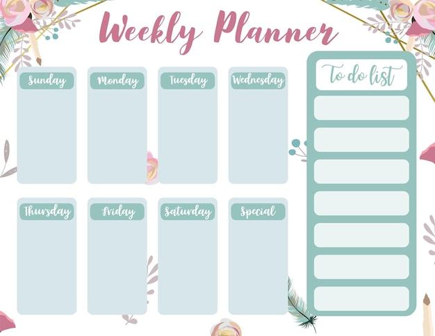Weekplanner start op zondag met dier en zon, takenlijst die wordt gebruikt voor verticaal digitaal en afdrukbaar a4 a5-formaat