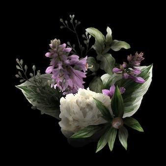 Weelderig bloemenboeket in rustige, zwarte achtergrond, hostabloemen, witte pioenrozen en bladeren, hand getrokken wtercolor illustratie.